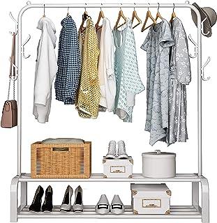 UDEAR Portant Penderie à vêtements Tringle Meuble Métal Porte-Manteau étagère pour Chaussures Rangement avec 6 Crochets, B...