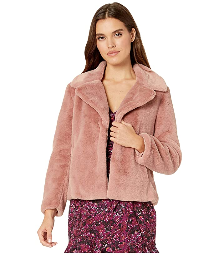 1.STATE  Faux Mink Collared Jacket (Lustre Nude) Womens Clothing