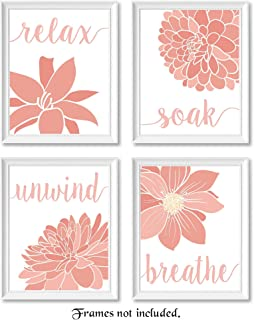 Relax, Soak, Unwind, Breathe Pink & White Bath Flower Signs Poster Prints, Set of 4 (8x10) Unframed Photos, Wall Art Decor Gifts Under 20 for College, Home, Studio, Student, Teacher, Floral Fan