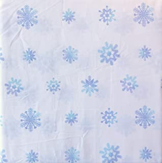 White Pine Bedding 4 Piece Cotton Queen Size Bed Sheet Set Extra Deep Pockets Winter Holiday Pattern with Geometric Snowflakes in Shades of Blue on White