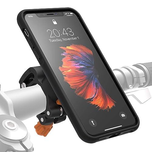 Morpheus Labs M4s BikeKit - Support telephone velo iPhone velo, Support iPhone X / Xs velo, Support vélo pour Apple iPhone X incl. coque iPhone X /Xs /10 fixation solide du portable au guidon [Noir]