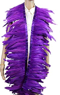 7 Color 2 Yard Long,8-10 inch Height Rooster Coque Feather Fringe Trim, for Skirt Dress Costume Roster Feather Trim (Purple)