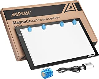 Magnetic A4 LED Artcraft Tracing Light Pad Light Box AGPtEK Stepless brightness control with memory function USB Powered Tatoo Pad Animation,Sketching,Designing,Stenciling X-ray Viewing W/ USB Adapter