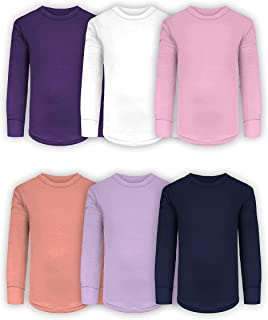 Girls/Boys/Toddler 6 Pack Athletic Performance Long Sleeve Undershirt Tops/Base Layer Cotton Stretch Shirts