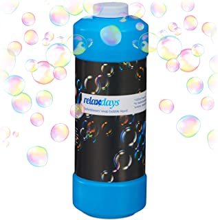 Relaxdays Bulles de savon liquide flacon 1 litre remplir fête machine à bulles pistolet à bulles, transparent