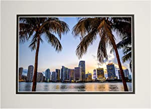 Miami, Florida - Palm Trees and Skyline - Photography A-93453 (11x14 Double-Matted Art Print, Wall Decor Ready to Frame)