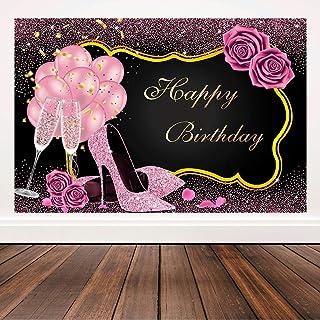 Happy Birthday Kulisse Pink und Schwarz Frauen Geburtstag Party Banner High Heels Champagner Rosa Rose Hintergrund Geburtstag Ball Supplies 1,8 x 1,2 m