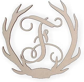 Wooden Deer Antler Monogram Letter F for Wall Decor or Door Hanger, Great for Gifts