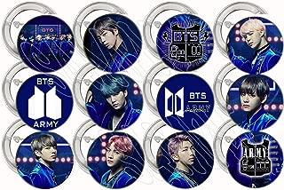 "Blue Purple K Pop Buttons K-pop Boy Party Favors Supplies Decorations Collectible Metal Pinback Buttons Pins, Large 2.25"" -12 pcs, South Korean Boy Band Jin Suga J-Hope RM Jimin V Jungkook"