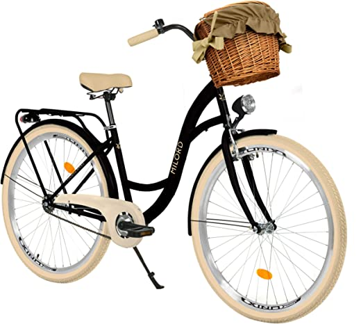 Milord. 28 Zoll 3-Gang, schwarz und Creme, Komfort Fahrrad mit Korb und Rückenträger, Hollandrad, Damenfahrrad, Citybike, Cityrad, Retro, Vintage