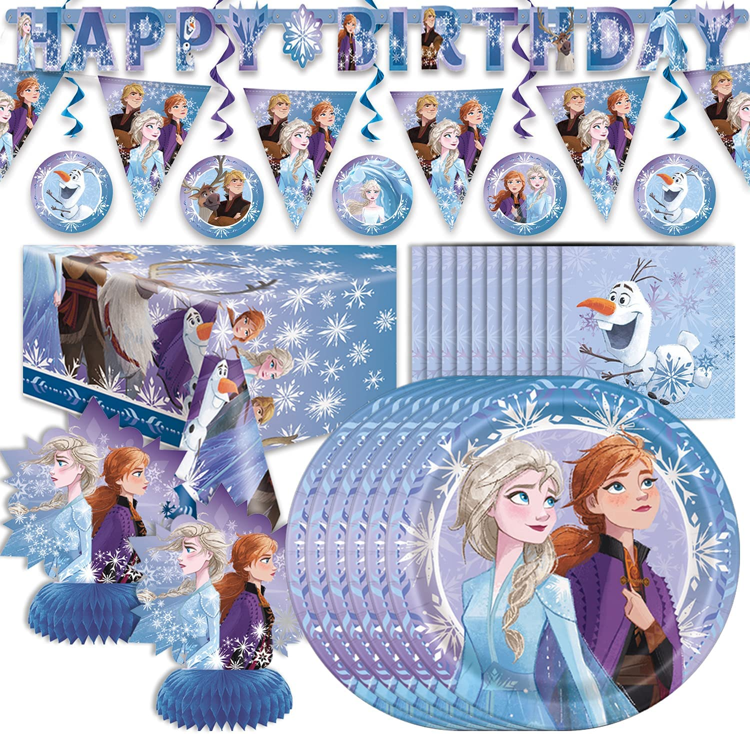Frozen 2 Translated Shipping included Birthday Party Supplies 16 Servings - Large Nap Plates