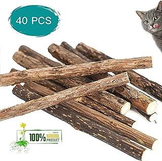 Deyace Catnip Sticks 40 PCS Organic Cat Catnip Toys Natural Plant Matatabi Silver Vine Chew Sticks Cat Teeth Cleaning Chew Toy for Cat Kitten Kitty (40 pcs)