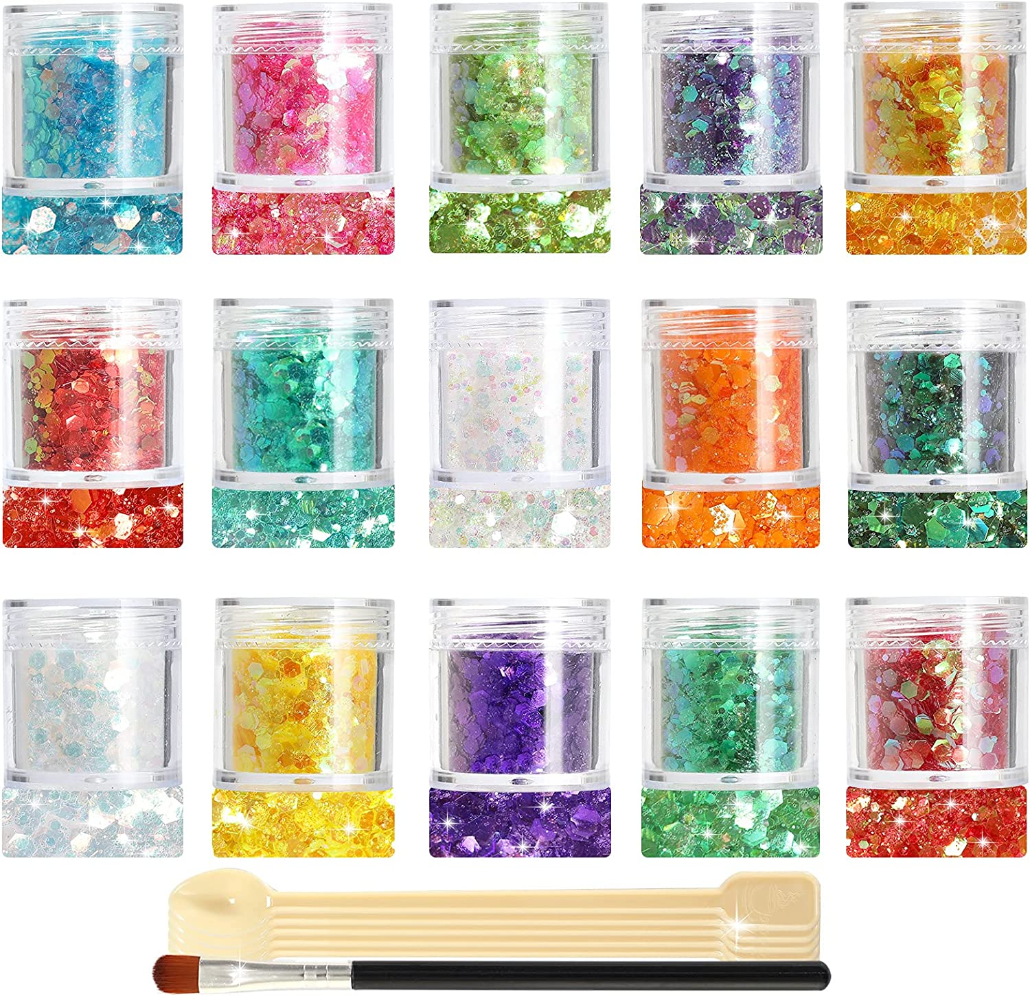 Glitter SUPGIFT 15 Colors 280g Holographic Chunky Cosmetic Rainbow Colorful Sequins for Makeup Body Hair Nail Art Slime Craft Resin with Brush 5 Spoons : Everything Else