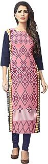 1 Stop Fashion Women's Pink-Coloured Crep Knee Long W Style Kurtas/Kurti