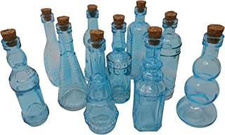 Vintage Glass Bottles with Corks, Bud Vases, Assorted Shapes, 5 Inch Tall, Set of 10 Blue