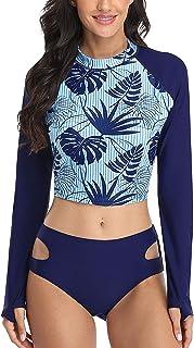 ATTRACO Women Two Piece Swimsuits Rash Guard Long Sleeve Swim Shirt Crop Top UPF 50 L