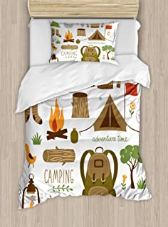 Ambesonne Adventure Duvet Cover Set, Camping Equipment Sleeping Bag Boots Campfire Shovel Hatchet Log Artwork Print, Decorative 2 Piece Bedding Set with 1 Pillow Sham, Twin Size, White Khaki