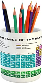Ambesonne Periodic Table Pencil Pen Holder, Educational Artwork for Classroom Science Lab Chemistry Club Camp Kids Print, Ceramic Pencil Pen Holder for Desk Office Accessory, 3.6