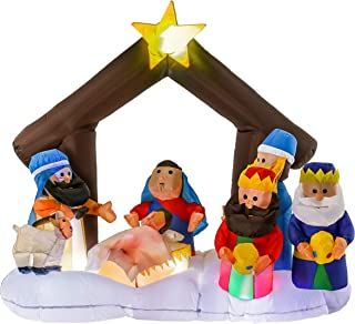 Christmas Masters 5 Feet High 6 Foot Wide Inflatable Holy Nativity Scene LED Lights Indoor Outdoor Yard Lawn Decoration - Mary, Joseph, Baby Jesus, Star, Xmas Holiday Party Blow Up