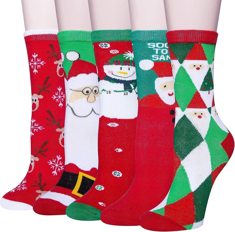 Chalier 5 Pairs Max 43% OFF Womens Christmas Socks Cozy Washington Mall Xmas Holiday S Funny