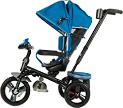 EVEZO 302A 4-in-1 Parent Push Tricycle for Kids, Stroller Trike Convertible, Swivel Seat, Reclining Seat, 5-Point Safety Harness, Full Canopy, LED Headlight, Storage Bin