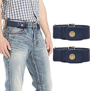 حزمة من 3 حزام مطاطي بدون مشبك للرجال والنساء أحزمة مرنة قابلة للتعديل من باكل باك بحزام جينز