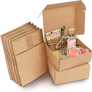 Kurtzy Boite Cadeau (50 Pcs) - Boite Papier Kraft Marron 12 x 12 x 5 cm - Boite Emballage en Carton Marron Facile à Assemb...