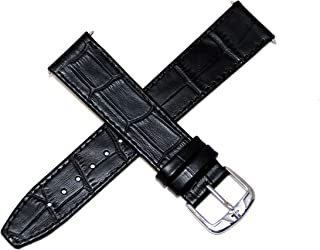 Jacques Lemans 20MM Alligator Grain Genuine Leather Watch Strap Black Silver Tone JL Initial Stainless Steel Buckle