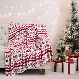 Bedsure Christmas Holiday Fleece Throw Blanket Red and White Super Soft Plush Warm Winter Blanket for Bed,Couch and Gifts,Christmas Traditional Snowflake Pattern,50 x 60 inches