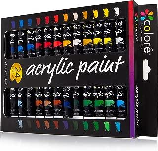 Set de Pinturas Acrílicas Colore – Perfecto para pintar en canvas, arcilla, tejidos, uñas y cerámica – Altamente pigmentadas con Calidad Duradera – 24 Colores