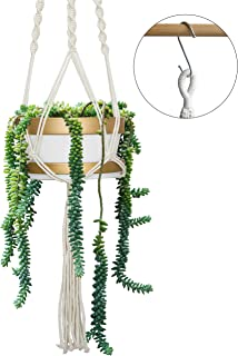 8 Inch Ceramic Hanging Planters with Tray for Indoor Plants, White Planter Pot with Gold Trim and Hanging Ropes, Boho Home Décor Macramé Plant Hanger with Pot for Indoor Outdoor Flowers and Herbs