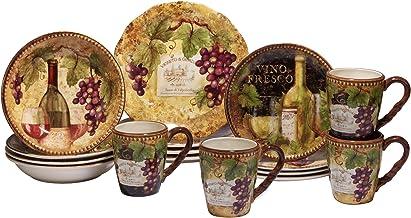 مجموعة أواني طعام من 16 قطعة من Certified International 89118 Gilded Wine ، خدمة لأربعة ، متعدد الألوان