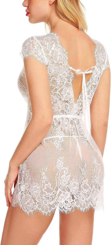 klier Women Sexy Lingerie Eyelash Lace Chemise Babydoll Nightwear Set Sleepwear Sheer Nightgown