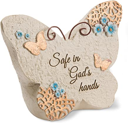 Pavilion Gift Company Light Your Way Memorial - Safe in God's Hands Memorial Butterfly Rock, Solid