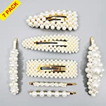 Pearl Hair Clip 7pcs Large Shinning Bling Bling Clips/Alligator/Bows/Ties/Hairpins Headwear Barrette Latest Golden Princess Style for Wedding Birthday Valentines Day Gift for Girls And Women