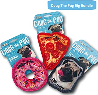 Reggie's Doug The Pug Incrediplush Squeaky Dog Toy Featuring; Pizza Dog Toy, Doughnut Dog Toy, Doug The Pug