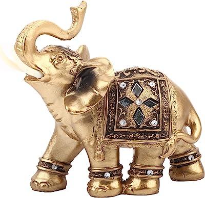 AUNMAS Golden Resin Statue Elegant Facing Upwards Elephant Figurine with Trunk Collectible Wealth Home Decor(2#)