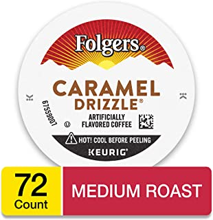 Folgers Caramel Drizzle Flavored Coffee, K Cup Pods for Keurig Coffee Makers, 72 Count