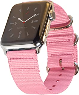 Carterjett Compatible with Apple Watch Band 42mm 44mm Nylon iWatch Bands NATO Replacement Strap, Soft Woven Canvas Stainless Steel Adapter for Series 5 Series 4 3 2 1 (42 44 S/M/L Pink)