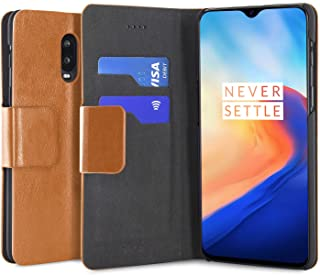 Olixar for OnePlus 6T Wallet Case - PU Faux Leather/Leather Style Flip Cover - Credit Card Storage - Built in Kickstand - Wireless Charging Compatible - Tan/Brown