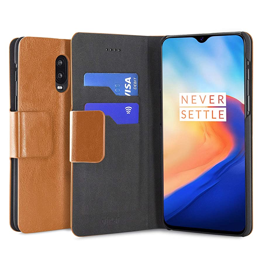 Olixar OnePlus 6T Wallet Case - PU Faux Leather - Slim Protective Cover - Card Storage Slots and Built in Media Viewing Stand - Leather Style - Tan
