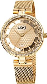 Burgi Sparkling Colored Crystals Women's Watch - Floating Dial On Shimmering Triangle Pattern 4 Genuine Diamond Markers On Stainless Steel Mesh Band -BUR262 (Yellow Gold)