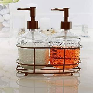 Circleware 32452 Vintage Soap Dispenser Bottle Pumps in Metal Caddy 3-Piece Set of Home Bathroom Accessories, Farmhouse Decor for Essential Oils, Lotions and Liquids, 17.5 oz, Bronze Hobnail