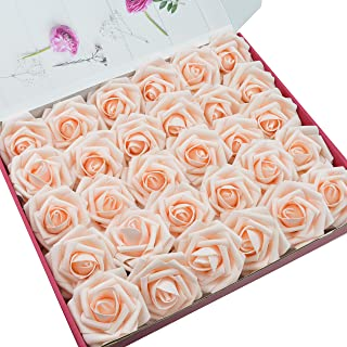 DerBlue 60pcs Artificial Roses Flowers Real Looking Fake Roses Artificial Foam Roses Decoration DIY for Wedding Bouquets Centerpieces,Arrangements Party Home Decorations