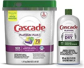 Cascade Platinum Plus Dishwasher Detergent Actionpacs, Lemon with Rinse Aid Platinum, Dishwasher Rinse Agent, Regular Scent