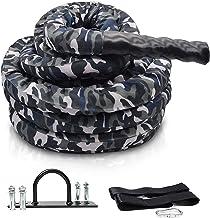 Battleropes Gevechtsoefening Trainingstouw met Camo-beschermhoes En Ankerriemset voor Home Gym Krachttraining & Cardio, In...