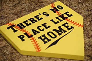 There's No Place Like Home Home Plate Baseball Sign Softball Sign Baseball Mom Softball Mom Man Cave Sports Fan Baseball Plaque