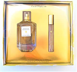 Vanilla Romance Eau De Parfum Gift Set by Tru Fragrance and Beauty - Romantic Gourmand Fragrance for Women - Bergamot, Creamy Vanilla and Cashmere Rose - 3.4 oz Perfume and 0.5 oz Travel Spray