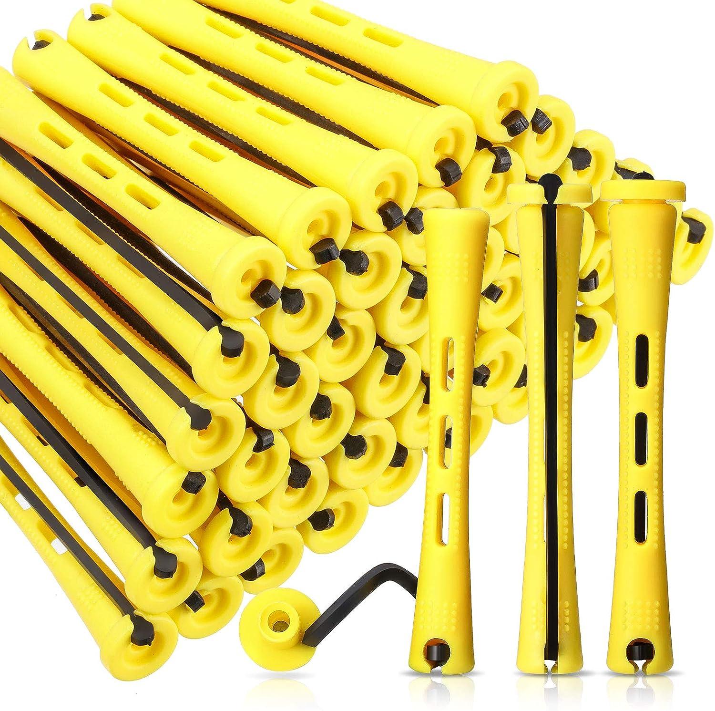 60 Barras de Permanente de Pelo Rodillos de Pelo Antideslizantes Barras de Onda Fría de Plástico Varillas Rulos Cortos con Banda de Goma Elástica Herramienta de Peinado (0,28 Pulgada, Amarillo)