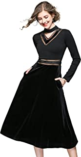 LAI MENG FIVE CATS Women's Long Sleeves Choker V Neck Patchwork Velvet Cocktail Swing A-Line Dress